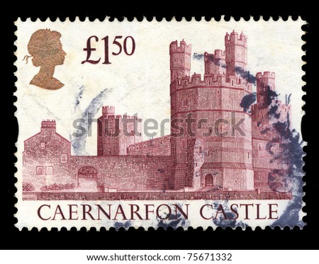 UNITED KINGDOM - CIRCA 1992: A stamp printed in United Kingdom shows Caernarfon Castle , circa 1992