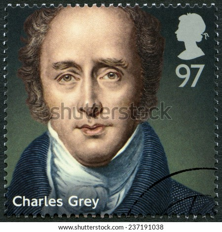 UNITED KINGDOM - CIRCA 2014: A stamp printed in United Kingdom shows Charles Grey, 2nd Earl Grey (1764-1845), politician, series Prime Ministers, circa 2014 - stock photo