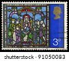 UNITED KINGDOM - CIRCA 1971: A stamp printed in United Kingdom shows Christmas (Stained Glass Windows Canterbury Cathedral), circa 1971 - stock photo
