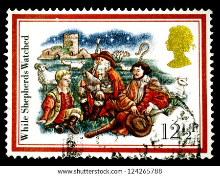 "UNITED KINGDOM - CIRCA 1993: A stamp printed in United Kingdom shows Drawing ""While Shepherds watched"" with the same inscriptions, from the series ""Christmas"", circa 1993"