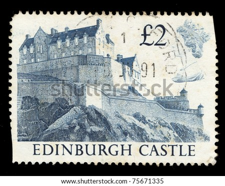 UNITED KINGDOM - CIRCA 1991: A stamp printed in United Kingdom shows Edinburgh Castle , circa 1991