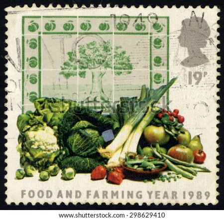 UNITED KINGDOM - CIRCA 1989: A stamp printed in United Kingdom shows Food and Farming Year 1989, circa 1989. - stock photo