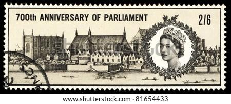 UNITED KINGDOM - CIRCA 1965: A stamp printed in United Kingdom shows image of 700th anniversary of parliament, circa 1965 - stock photo