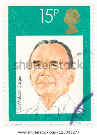 UNITED KINGDOM - CIRCA 1980: A stamp printed in United Kingdom shows portrait of Malcolm  Sargent (1895-1967), circa 1980