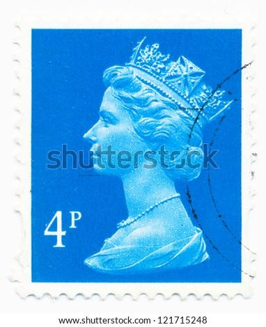 UNITED KINGDOM - CIRCA 1988: A stamp printed in United Kingdom shows portrait of Queen Elizabeth II, circa 1988 - stock photo