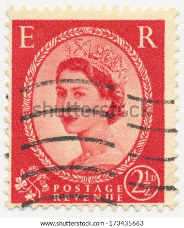 UNITED KINGDOM - CIRCA 1952: A stamp printed in United Kingdom shows portrait of Queen Elizabeth II, circa 1952