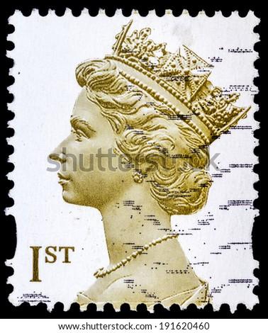 UNITED KINGDOM - CIRCA 2000: A stamp printed in United Kingdom shows portrait of Queen Elizabeth II, circa 2000  - stock photo