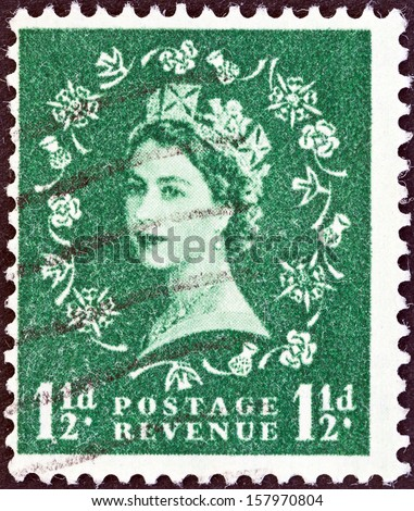 UNITED KINGDOM - CIRCA 1952: A stamp printed in United Kingdom shows Queen Elizabeth II, circa 1952.  - stock photo