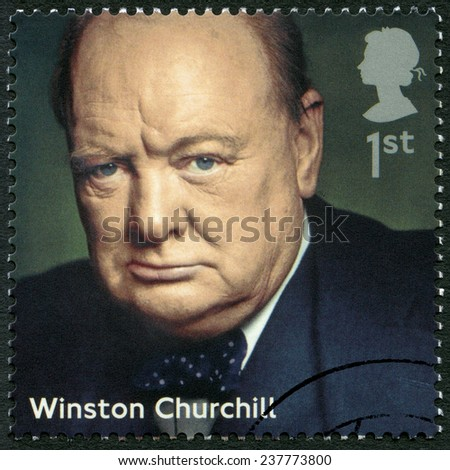 UNITED KINGDOM - CIRCA 2014: A stamp printed in United Kingdom shows Sir Winston Leonard Spencer Churchill (1874-1965), politician, series Prime Ministers, circa 2014 - stock photo