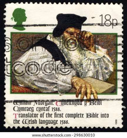UNITED KINGDOM - CIRCA 1988: A stamp printed in United Kingdom shows William Morgan Bible translator, 400th anniversary of Welsh Bible, circa 1988  - stock photo