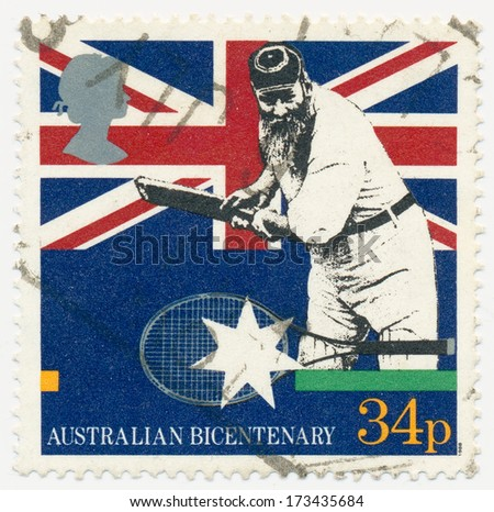 UNITED KINGDOM - CIRCA 1988: A stamp printed in United Kingdom William Gilbert Grace, the Great Cricketer, circa 1988