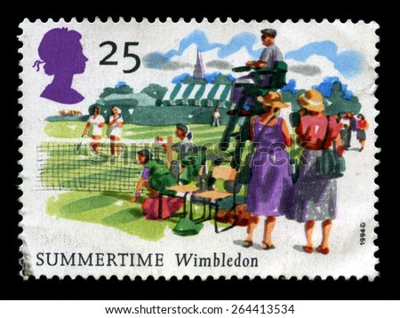 UNITED KINGDOM - CIRCA 1994: A used British Postage Stamp commemorating the Wimbledon Tennis Championship, circa 1994. - stock photo