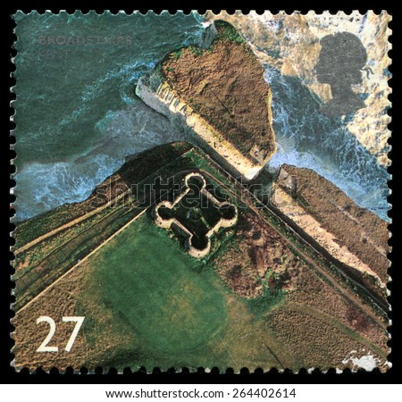 UNITED KINGDOM - CIRCA 2002: A used British Postage Stamp depicting a birdseye image of Broadstairs in Kent, circa 2002. - stock photo