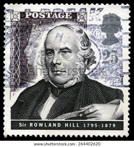 UNITED KINGDOM - CIRCA 1995: A used British Postage stamp depicting an image of social reformer and postal administrator Sir Rowland Hill, circa 1995. - stock photo