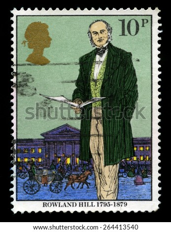UNITED KINGDOM - CIRCA 1979: A used British Postage stamp depicting an image of social reformer and postal administrator Sir Rowland Hill, circa 1979. - stock photo
