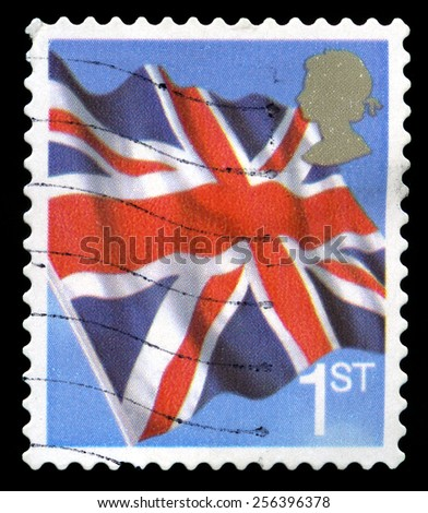 UNITED KINGDOM - CIRCA 2001: A used British postage stamp depicting an image of the Union Flag, circa 2001. - stock photo