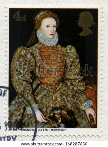 UNITED KINGDOM - CIRCA 1968: A used British postage stamp featuring a portrait of Queen Elizabeth 1st, circa 1968. - stock photo