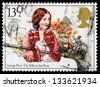 UNITED KINGDOM - CIRCA 1980: A used postage stamp printed in Britain celebrating Famous Authoresses, showing George Eliot and the Mill on the Floss, circa 1980 - stock photo