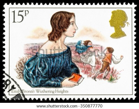 UNITED KINGDOM - CIRCA 1980: A used postage stamp printed in Britain celebrating Famous Authoresses, showing Emily Bronte and Wuthering Heights - stock photo