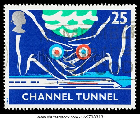 UNITED KINGDOM - CIRCA 1994: A used postage stamp printed in Britain celebrating the Opening of the Channel Tunnel between Britain and France, circa 1994