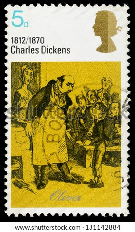 UNITED KINGDOM - CIRCA 1970: A used postage stamp printed in Britain showing Oliver from the book Oliver Twist by Charles Dickens, circa 1970 - stock photo