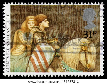 UNITED KINGDOM - CIRCA 1985: A used postage stamp printed in Britain showing Queen Guinevere and Sir Lancelot as part of Set on Arthurian Legends, circa 1985