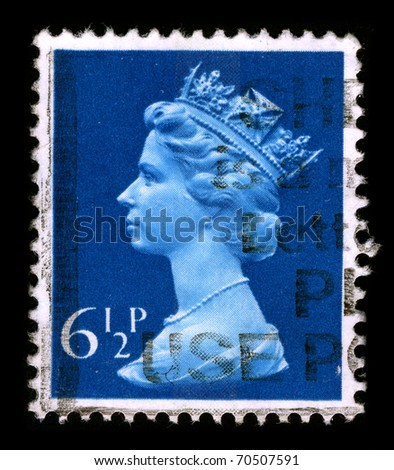 UNITED KINGDOM - CIRCA 1990: An English Used First Class Postage Stamp printed in UNITED KINGDOM showing Portrait of Queen Elizabeth in blue, circa 1990.