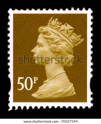 UNITED KINGDOM - CIRCA 1990: An English Used First Class Postage Stamp printed in UNITED KINGDOM showing Portrait of Queen Elizabeth in gold, circa 1990. - stock photo