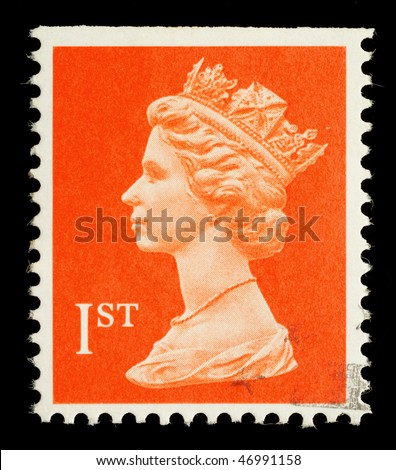 UNITED KINGDOM - CIRCA 1998: An English Used First Class Postage Stamp showing Portrait of Queen Elizabeth 2nd, circa 1998
