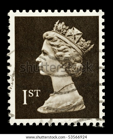 UNITED KINGDOM - CIRCA 1989: An English Used First Class Postage Stamp showing Portrait of Queen Elizabeth 2nd, circa 1989 - stock photo