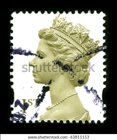 UNITED KINGDOM - CIRCA 2000: An English Used First Class Postage Stamp showing Portrait of Queen Elizabeth in gold circa 2000. - stock photo