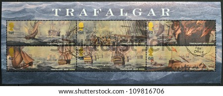 UNITED KINGDOM - CIRCA 2005: Collection stamps printed in Great Britain dedicated to Bicentenary of the Battle of Trafalgar, circa 2005