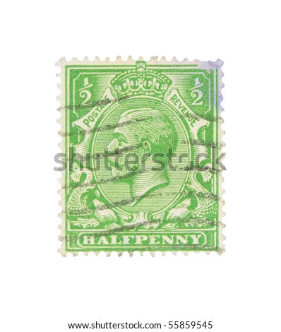 UNITED KINGDOM - CIRCA 1918: stamp printed in the United Kingdom showing King George V, circa 1918