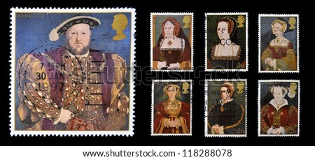 UNITED KINGDOM - CIRCA 1997: Stamps printed in Great Britain dedicated to The Great Tudor, shows King Henry VIII and his six wives, circa 1997 - stock photo