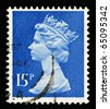 UNITED KINGDOM - CIRCA 1971 to 1996: Stamp printed in the UK show an English Used Postage Stamp showing Portrait of Queen Elizabeth 2nd, circa 1971 - 1996 - stock photo
