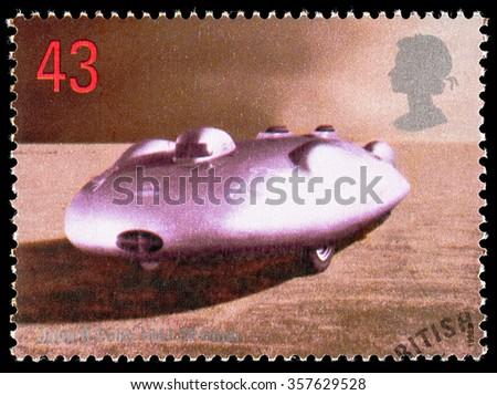 UNITED KINGDOM - CIRCA 1998: Used postage stamp printed in Britain celebrating British Land Speed Records showing John Cobb 1947 Railton Mobil Special Car - stock photo