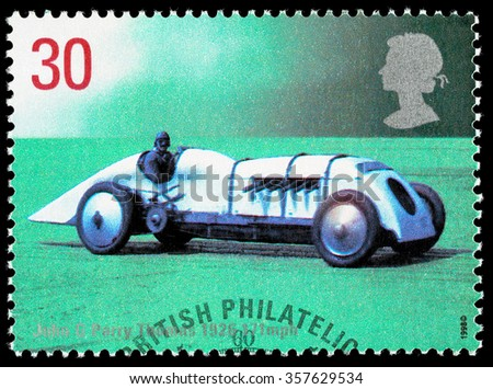 UNITED KINGDOM - CIRCA 1998: Used postage stamp printed in Britain celebrating British Land Speed Records showing John Parry Thomas 1926 Babs Car - stock photo