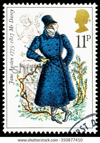UNITED KINGDOM - CIRCA 1975: used postage stamp printed in Britain commemorating the Bicentenary of the Writer Jane Austen - stock photo