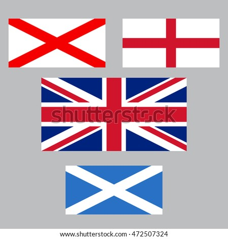 United Kingdom collection of flags. England, Northern Ireland, Scotland
