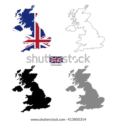 United Kingdom country black silhouette and with flag on background, isolated on white - stock photo