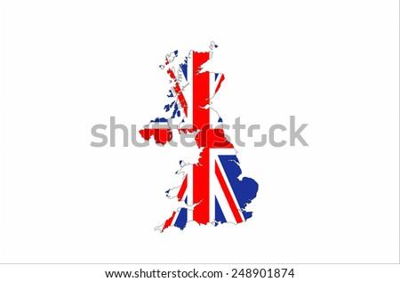 united kingdom country flag map shape illustration - stock photo