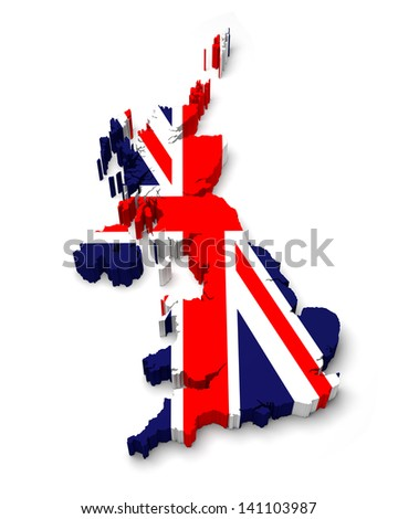 United Kingdom 3D flag map on white isolated