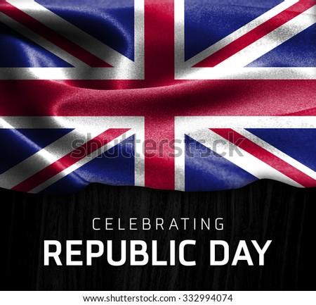 United Kingdom flag and Celebrating Republic Day Typography on wood background - stock photo