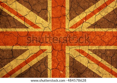 United Kingdom flag  and dry earth surface background