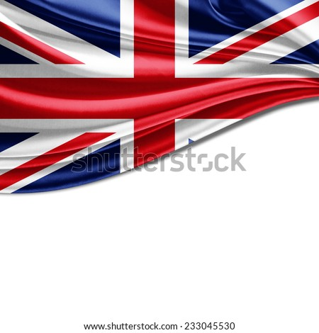 United Kingdom flag and white background - stock photo