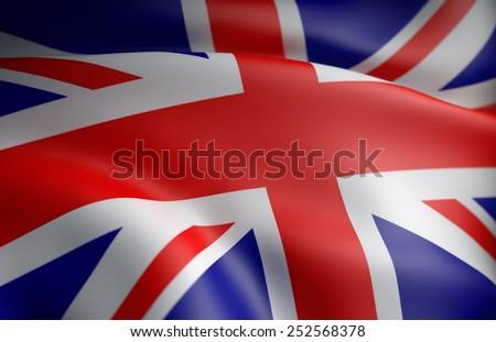 United Kingdom flag 3D - stock photo