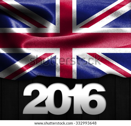 United Kingdom Flag & Happy New Year 2016 typography on wood texture background - stock photo