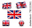 united kingdom flag icon set UK - stock photo