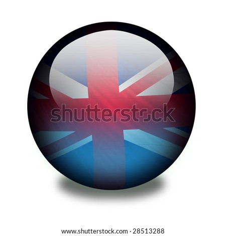 United kingdom flag on a shiny orb or sphere. Clipping path with the orb (without the drop shadow) included. - stock photo