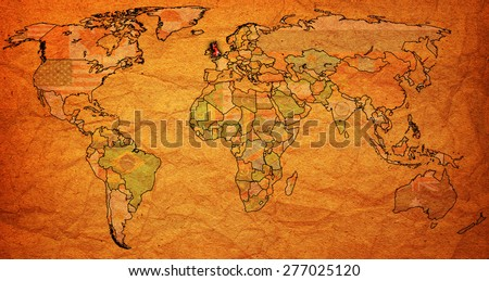 united kingdom flag on old vintage world map with national borders